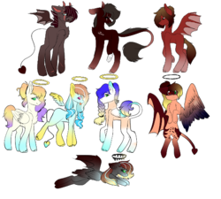 Size: 512x461 | Tagged: amputee, angel, angel pony, artist:hunny-bun-bunn, bandage, bat pony, black sclera, colored sclera, demon, demon pony, eye scar, female, flying, halo, hbrid, heterochromia, male, mare, markings, multicolored hair, oc, oc:anatasia, oc:bluey, oc:elvere, oc:maddie, oc:nightlight (ice1517), oc only, oc:peachblizzard, oc:summer (ice1517), oc:sweetpeach (ice1517), original species, pegasus, pony, raised hoof, safe, scar, simple background, stallion, tattoo, transparent background, unshorn fetlocks