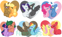 Size: 999x601 | Tagged: alicorn, applejack, artist:princessforestmagic, big macintosh, dumbbell, dumbdash, female, fluttermac, fluttershy, male, pinkie pie, pokeypie, pokey pierce, pony, rainbow dash, rarilane, rarity, safe, shipping, straight, thunderlane, timber spruce, timbertwi, trenderhoof, trenderjack, twilight sparkle, twilight sparkle (alicorn)