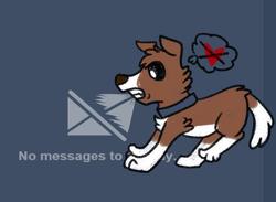 Size: 848x620 | Tagged: safe, artist:askwinonadog, winona, dog, ask winona, blue background, heart, meta, simple background, solo, thought bubble, tumblr