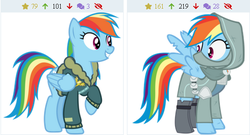 Size: 461x249 | Tagged: safe, rainbow dash, pony, clothes, double rainbow, jacket, leather jacket, rainbow rogue