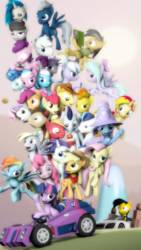 Size: 1080x1920 | Tagged: safe, artist:elliskyan, aloe, apple bloom, applejack, big macintosh, braeburn, cloudchaser, daring do, derpy hooves, dj pon-3, doctor whooves, double diamond, flitter, fluttershy, lotus blossom, maud pie, night glider, octavia melody, party favor, pinkie pie, rainbow dash, rarity, scootaloo, shining armor, soarin', spitfire, sugar belle, sunset shimmer, sweetie belle, time turner, trixie, twilight sparkle, vinyl scratch, oc, alicorn, pony, 3d, audi, car, cutie mark crusaders, equal four, kart, mane six, pony pile, source filmmaker, tower of pony, twilight sparkle (alicorn)