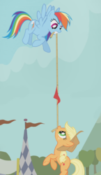 Size: 1560x2683 | Tagged: safe, composite screencap, edit, edited screencap, screencap, applejack, rainbow dash, earth pony, pegasus, pony, fall weather friends, cheating, competition, flag, flying, hanging, mouth hold, panorama, rope, tug of war