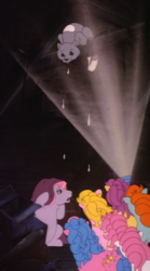 Size: 1196x2149 | Tagged: safe, composite screencap, edit, edited screencap, screencap, bon bon (g1), bright eyes, clover (g1), melody, patch (g1), starlight (g1), sweetheart, cat, earth pony, pony, my little pony tales, slumber party (episode), attic, baseball bat, cardboard box, dark, flashlight (object), g1, panorama, springfield