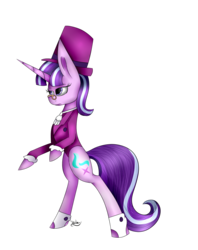 Size: 1174x1481 | Tagged: artist:winterflaze26, bipedal, clothes, female, glasses, hat, hoof shoes, mare, pony, safe, signature, simple background, snowfall frost, solo, standing, starlight glimmer, transparent background, unicorn, watermark