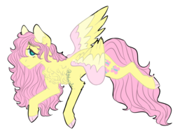 Size: 970x770   Tagged: safe, artist:sleepymangos, fluttershy, pegasus, pony, alternate hairstyle, blushing, chest fluff, cloven hooves, colored wings, female, heart eyes, lidded eyes, looking at you, mare, messy mane, simple background, solo, white background, wingding eyes