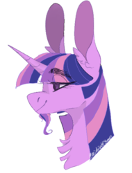 Size: 508x668 | Tagged: artist:sleepymangos, beard, big ears, bust, chest fluff, ear fluff, eye clipping through hair, facial hair, female, lidded eyes, mare, part of a set, pony, profile, safe, simple background, smiling, solo, twilight sparkle, white background
