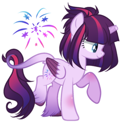 Size: 1000x1000 | Tagged: alicorn, alicorn oc, artist:gihhbloonde, broken horn, female, horn, leonine tail, magical lesbian spawn, mare, oc, oc only, offspring, parents:tempestlight, parent:tempest shadow, parent:twilight sparkle, pony, safe, simple background, solo, transparent background, unshorn fetlocks