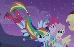 Size: 810x517 | Tagged: safe, screencap, applejack, fluttershy, pinkie pie, rainbow dash, rarity, equestria girls, equestria girls (movie), boots, clothes, cropped, derp, dress, fall formal outfits, female, group hug, hug, humane five, ponied up, shoes