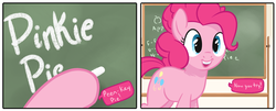 Size: 1500x604 | Tagged: artist:tex, chalk, chalkboard, cropped, cute, dialogue, diapinkes, earth pony, hoof hold, open mouth, pinkie pie, pony, safe, solo, speech bubble