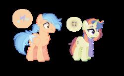 Size: 1067x651 | Tagged: safe, artist:foxysparkle, oc, oc:moonlight starbreaker, oc:zap, pegasus, pony, unicorn, clothes, female, male, mare, offspring, parent:flash sentry, parent:rainbow dash, parents:flashdash, scarf, simple background, stallion, transparent background