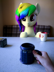 Size: 1920x2560 | Tagged: 3d, artist:lagmanor, blender, blender cycles, cup, earth pony, female, hand, human, irl, mare, oc, oc:rainbowtashie, offscreen character, offscreen human, photo, photography, ponies in real life, pony, pov, safe, table, teacup