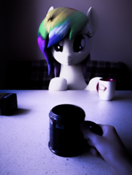 Size: 1920x2560 | Tagged: 3d, alternate version, artist:lagmanor, blender, blender cycles, cup, earth pony, female, hand, human, irl, mare, oc, oc:rainbowtashie, offscreen character, offscreen human, photo, photography, photoshop, ponies in real life, pony, pov, safe, table, teacup