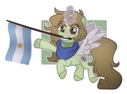 Size: 1024x752 | Tagged: safe, artist:foxysparkle, oc, oc:margaret, pony, unicorn, argentina, artificial wings, augmented, base used, female, flag, magic, magic wings, mare, mouth hold, solo, wings