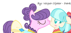 Size: 764x354 | Tagged: safe, artist:vesper-cipher-dark, coco pommel, suri polomare, earth pony, pony, blushing, clothes, cocopolo, dress, eyes closed, female, kissing, lesbian, mare, scrunchy face, shipping, simple background, surprised, white background