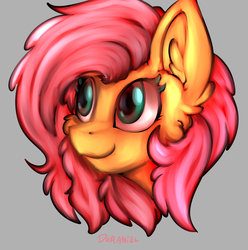 Size: 1356x1368 | Tagged: artist:deraniel, bust, cheek fluff, ear fluff, female, fluttershy, gray background, looking away, mare, pegasus, pony, portrait, safe, simple background, smiling, solo, three quarter view