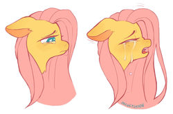 Size: 1024x681   Tagged: safe, artist:occultusion, fluttershy, pegasus, pony, bust, crying, eyes closed, female, floppy ears, looking down, mare, open mouth, profile, sad, simple background, solo, teary eyes, white background