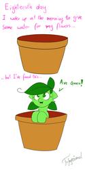 Size: 3000x6000 | Tagged: safe, artist:fajnyziomal, oc, oc only, oc:świstek, plant pony, pony, comic:świstek, comic, curly eyelashes, cute, flower pot, ocbetes, pot, solo