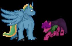 Size: 1030x657 | Tagged: safe, artist:dbkit, oc, oc:kirouac, oc:loyaldark, oc:shifting surprise, changeling, hybrid, pony, bowing, cape, changeling oc, clothes, commission, half dragon, half pony, halfling, halfling oc, kneeling, niclove
