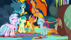 Size: 1920x1080 | Tagged: safe, screencap, gallus, ocellus, sandbar, silverstream, smolder, yona, changedling, changeling, dragon, earth pony, hippogriff, pony, yak, uprooted, cute, diaocelles, diastreamies, dragoness, eyes closed, female, gallabetes, male, paws, sandabetes, sapling, smiling, smolderbetes, student six, wings