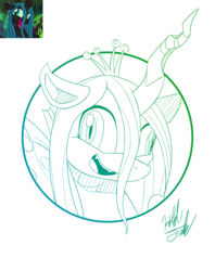 Size: 1028x1300 | Tagged: artist:fuzon-s, bust, changeling, crazylis, crown, derp, faic, female, gradient lineart, insanity, jewelry, lineart, monochrome, open mouth, portrait, queen chrysalis, regalia, safe, scene interpretation, signature, sketch, solo, spoiler:s09e01, style emulation, the beginning of the end, yuji uekawa style