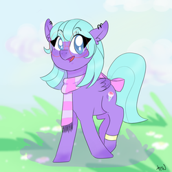 Size: 1000x1000 | Tagged: artist:raleffdoh, bow, clothes, cute, ear fluff, ear piercing, female, glasses, mare, oc, ocbetes, oc only, oc:shiverberry, open mouth, pegasus, piercing, pony, safe, scarf, solo, tail bow