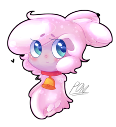 Size: 725x790 | Tagged: artist:dddreamdraw, bell, bell collar, blushing, bust, collar, community related, cute, eye clipping through hair, heart, lamb, pomabetes, pom lamb, portrait, safe, sheep, simple background, solo, them's fightin' herds, white background