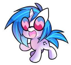 Size: 908x827 | Tagged: artist:pekou, chibi, cute, dj pon-3, female, mare, open mouth, pony, safe, simple background, solo, transparent background, unicorn, vinylbetes, vinyl scratch