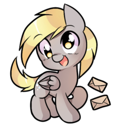 Size: 786x841 | Tagged: artist:pekou, chibi, cute, derpabetes, derpy hooves, envelope, female, letter, mare, open mouth, pegasus, pony, safe, simple background, solo, transparent background