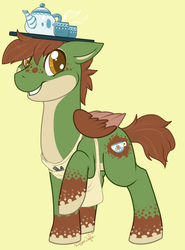 Size: 612x827 | Tagged: apron, artist:ryunwoofie, balancing, clothes, cup, freckles, kettle, male, oc, oc:blooming berry, pegasus, pony, raised hoof, safe, simple background, smiling, stallion, teacup, tray