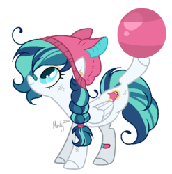 Size: 656x665 | Tagged: artist:lullabyprince, artist:mintoria, ball, bandaid, base used, beanie, female, hat, mare, oc, oc:melee fire, oc only, pegasus, pony, safe, scrapes, simple background, solo, transparent background