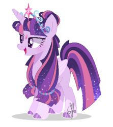 Size: 408x460 | Tagged: alicorn, alternate hairstyle, artist:6-fingers-lover, artist:selenaede, base used, big crown thingy, element of magic, jewelry, pony, regalia, safe, simple background, solo, transparent background, twilight sparkle, twilight sparkle (alicorn)