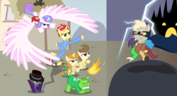 Size: 2000x1091 | Tagged: action pose, alicorn, artist:magerblutooth, bandana, cake twins, cape, castle, clothes, draconequus, fanfic art, fanfic:pound and pumpkin tales 2, fire, fireball, impossibly large wings, large wings, lightning, magic, oc, oc:masquerade ball, oc:mayhem, oc:peppermint swirl, oc:tree leaf, pegasus, pony, ponyville, pound cake, princess flurry heart, pumpkin cake, safe, shadow, stretchy, superhero, unicorn, wings