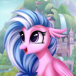 Size: 3000x3000 | Tagged: safe, artist:setharu, silverstream, classical hippogriff, hippogriff, season 8, commission, cute, diastreamies, eye reflection, female, happy, high res, reflection, scenery, school of friendship, solo, stairs, that hippogriff sure does love stairs, when you see it