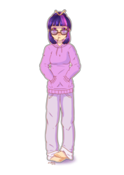 Size: 2480x3507 | Tagged: safe, alternate version, artist:artyfour, twilight sparkle, human, barefoot, candy, clothes, feet, female, food, full body, glasses, hands in pockets, hoodie, humanized, lollipop, looking at you, simple background, solo, sweater, white background