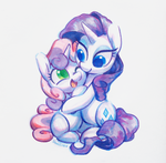 Size: 1614x1583 | Tagged: artist:dawnfire, blank flank, colored pupils, copic, cute, diasweetes, female, filly, mare, marker drawing, one eye closed, open mouth, pony, raribetes, rarity, safe, sisterly love, sisters, sweetie belle, traditional art, unicorn