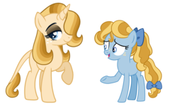 Size: 2500x1500 | Tagged: artist:carouselunique, base, base used, bow, duo, earth pony, freckles, hair bow, hair over one eye, leonine tail, oc, oc:golden hour, oc only, oc:stargazer lily, offspring, parent:night light, parent:pear butter, parents:pearlight, safe, series:sunlight horizons, tail bow, unicorn