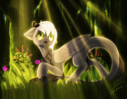 Size: 1920x1500 | Tagged: adopted oc, artist:althyra-nex, art trade, claws, dracony, dragon, forest, grass, gray body, green eyes, horns, hybrid, leonine tail, male, nervous, oc, oc:gloom, oc only, open mouth, pony, safe, scared, solo, stallion, tattered wings, tree, white hair, wings