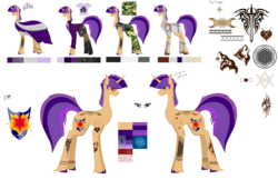 Size: 7937x5385 | Tagged: safe, artist:moonlight0shadow0, oc, oc only, oc:flare beam, pony, unicorn, wolf, icey-verse, anarchy, armor, bandage, belt, boots, camouflage, chest fluff, clothes, crown, dress, ear piercing, earring, eye scar, female, flannel, hoodie, jewelry, mare, next generation, nylon, offspring, pants, parent:flash sentry, parent:twilight sparkle, parents:flashlight, piercing, reference sheet, regalia, rust, scar, shield, shirt, shoes, simple background, sleeveless, socks, solo, stockings, sword, t-shirt, tanktop, tattoo, thigh highs, torn clothes, transparent background, unshorn fetlocks, wall of tags, weapon