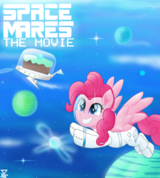 Size: 4500x5000 | Tagged: absurd res, april fools, april fools 2019, artist:theretroart88, astronaut, astronaut pinkie, cake, clothes, dessert, equestria daily, female, flying, food, g5, mare, movie accurate, pegasus, pegasus pinkie pie, pinkie pie, pinkie pie (g5), planet, pony, race swap, safe, smiling, space, space mares, spacesuit, stars