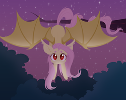 Size: 6000x4758 | Tagged: safe, artist:belka-sempai, fluttershy, bat pony, pony, bat ponified, bat wings, cute, female, flutterbat, looking at you, mare, night, outdoors, prehensile tail, race swap, red eyes, shyabates, shyabetes, solo, spread wings, tree branch, upside down, wings