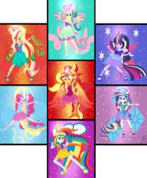Size: 5159x6229 | Tagged: safe, artist:sparkling-sunset-s08, applejack, fluttershy, pinkie pie, rainbow dash, rarity, sunset shimmer, twilight sparkle, alicorn, equestria girls, bracelet, clothes, colored wings, crown, cutie mark, cutie mark background, fiery wings, gradient clothes, gradient wings, humane five, humane seven, humane six, jewelry, multicolored wings, phoenix wings, ponied up, pony ears, rainbow hair, rainbow power, rainbow power-ified, rainbow tail, rainbow wings, regalia, shoes, sunset phoenix, super ponied up, transformation, twilight sparkle (alicorn), winged humanization, wings