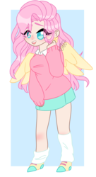 Size: 696x1280 | Tagged: abstract background, artist:crazykittychan02, clothes, collared sweater, colored pupils, cute, ear piercing, earring, eye clipping through hair, female, fluttershy, human, humanized, jewelry, leg warmers, open mouth, piercing, safe, shyabetes, skirt, solo, sweater, winged humanization, wings