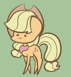 Size: 807x881 | Tagged: safe, artist:typhwosion, applejack, earth pony, pony, :>, bandana, cute, dot eyes, green background, jackabetes, pointy ponies, simple background, solo