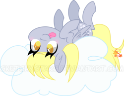 Size: 800x616 | Tagged: safe, artist:mochi--pon, derpy hooves, pegasus, pony, :p, blushing, cloud, colored pupils, cute, derpabetes, female, mare, on a cloud, on back, silly, simple background, solo, tongue out, transparent background, upside down