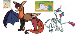 Size: 2400x1080 | Tagged: armor, artist:slooshpoosh, bray, donkey, draconequified, draconequus, g1, g1 to g4, generation leap, gusty, leonine tail, pony, safe, simple background, species swap, unicorn, white background
