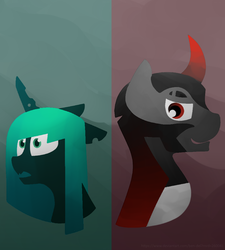 Size: 910x1010 | Tagged: safe, artist:ben-del, king sombra, queen chrysalis, the beginning of the end, antagonist, chrysombra, evil grin, female, grin, male, shipping, smiling, straight