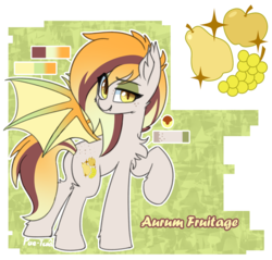 Size: 1280x1224 | Tagged: artist:puetsua, bat pony, bat pony oc, bat wings, chest fluff, cute, cutie mark, ear fluff, eyeliner, eyeshadow, female, freckles, fruit, makeup, mare, oc, oc:aurum fruitage, plot, pony, raised eyebrow, raised hoof, reference sheet, safe, solo, spread wings, wings