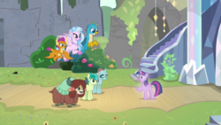Size: 1920x1080 | Tagged: safe, screencap, gallus, ocellus, sandbar, silverstream, smolder, yona, changedling, changeling, classical hippogriff, dragon, earth pony, griffon, hippogriff, pony, yak, uprooted, spoiler:s09e03, bow, cloven hooves, colored hooves, dragoness, female, flying, hair bow, jewelry, male, monkey swings, necklace, student six, teenager, treelight sparkle