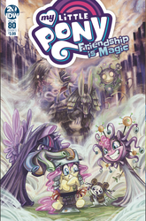 Size: 1186x1800 | Tagged: safe, artist:sararichard, idw, angel bunny, fluttershy, pinkie pie, twilight sparkle, alicorn, mind flayer, pony, rabbit, spoiler:comic, spoiler:comic80, animal, beholder, cover, dungeons and dragons, female, illithid, larp, mare, official comic, ogres and oubliettes, twilight sparkle (alicorn)