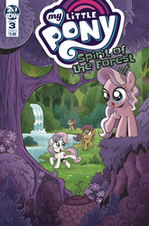 Size: 1186x1800 | Tagged: safe, idw, apple bloom, diamond tiara, scootaloo, sweetie belle, earth pony, pegasus, pony, unicorn, spirit of the forest, spoiler:comic, spoiler:comicspiritoftheforest03, cover, female, filly, foal, forest, official comic, quartet, whitetail woods